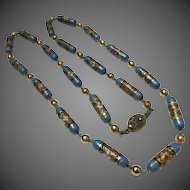 Fine Vintage Chinese Silver Cloisonne Bead Kingfisher Blue Necklace