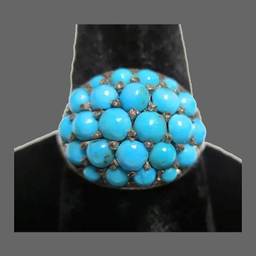 Victorian Silver Persian Turquoise Ring Antique Bombe Dome
