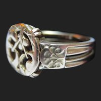 French 18K Gold Antique Ring Art Nouveau Mistletoe