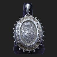 Victorian Sterling Silver Locket Antique Pendant