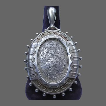 Victorian Sterling Silver Locket Antique Pendant