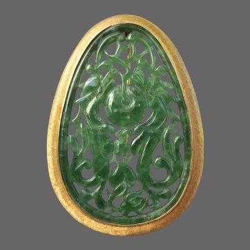 Fine 14K Gold Carved Jade Brooch Dragons & Fruits