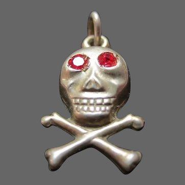 Antique Memento Mori Pendant Silver Skull & Crossbones Mourning Charm