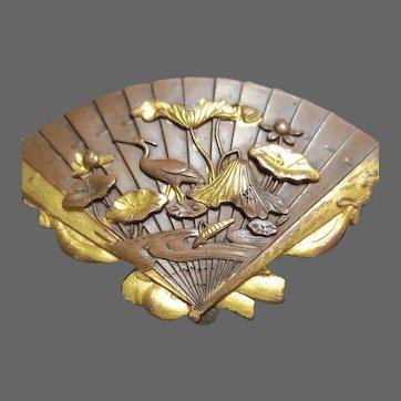 Antique Japanese Shakudo Bronze Fan Brooch Meiji Period Crane Bird and Lotus Lily
