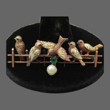 Delightful 14K Gold Antique Bird Brooch with Emerald & Pearl