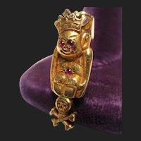 Rare 18K Gold & Ruby Antique Pendant Royal Order of Jesters Shriners Billiken Memento Mori Skull Crossbones