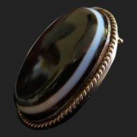 Victorian 14K Gold Scottish Bullseye Banded Agate Mourning Pendant / Brooch