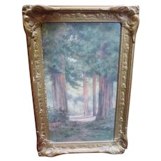 Antique California Redwood Watercolor Painting Amy Bell Delappe Landscape Art Armstrong Woods