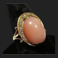 Fine 18K Gold Diamond & Angel Skin Coral Ring
