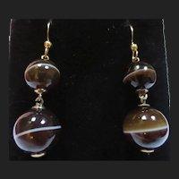 Victorian Scottish Bullseye Banded Agate Gold Earrings