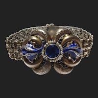 Austro-Hungarian Victorian Silver Pearl & Enamel Antique Bracelet