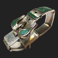 Victorian Silver Buckle Bracelet Scottish Agate Malachite Panels