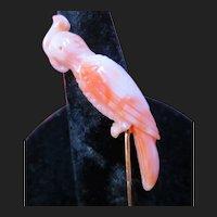 Precious Victorian Carved Coral Parrot Cockatoo 14K Gold Stickpin