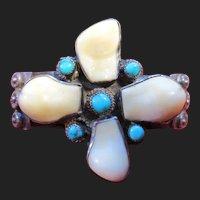 Antique Navajo Silver Turquoise & Elks Tooth Bracelet Southwestern