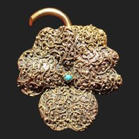 Victorian Pansy Flower 10K Gold Brooch / Pendant Etruscan Persian Turquoise