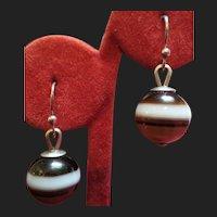 Victorian Scottish Bullseye Banded Agate Earrings