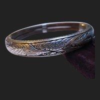 Antique Chinese Silver Bracelet Bamboo Bangle Phoenix Bird