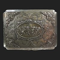 Fine Italian Antique Silver Case Cigarette Box with Dancing Cherubs and Green Man
