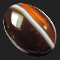 Victorian Scottish Bullseye Banded Agate Cabochon Stone for Pendant / Brooch