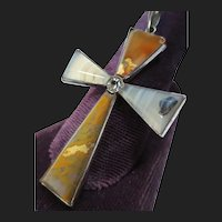 Lovely Vintage Panama Canal Agate Silver Cross Pendant