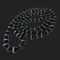 "Victorian Bullseye Scottish Banded Agate Beaded Necklace 32"""