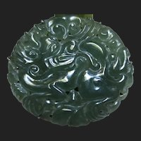 Antique Chinese Silver Carved Jade Qilin Ruyi Brooch Dress Clip