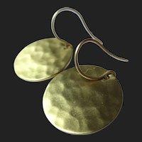 Me&Ro 18K Gold Hammered Disk Earrings