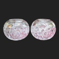 Rare American Brilliant Period Cut Glass Rose Bowls Antique Crystal ABP Vase
