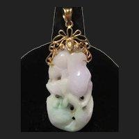 Fine Lavender Jade 14K Gold Pendant Carved Fish & Lotus Flower