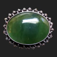 Lovely Vintage Jade Sterling Silver Marcasite Brooch / Pendant