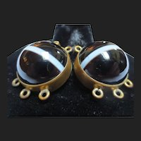 Large Victorian Scottish Bullseye Banded Agate Clasp Beaded Necklace