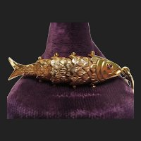 Mexican 14K Gold Ruby Vintage Articulated Fish Pendant
