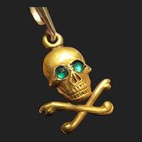 Rare 14K Gold Skull & Crossbones Antique Pendant Memento Mori