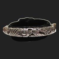 Chinese Silver Antique Bamboo Dragon & Phoenix Bird Bangle Bracelet