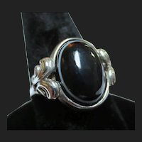 Antique Silver Mourning Scottish Bullseye Banded Agate Ring