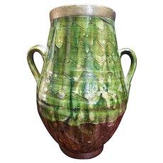 17th Century Border Ware Pottery Jug Vase Tudor Green