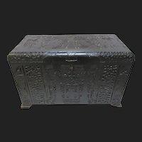 Antique Masonic Knights of Templar Folk Art Cedar Chest Victorian Box