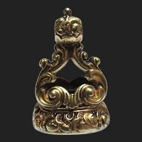 Regal Georgian 14K Gold Cased Topaz Seal Fob Pendant