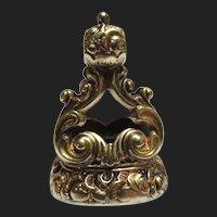 Regal Georgian 14K Gold Cased Topaz Seal Fob Pendant