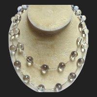 """Art Deco Pools Of Light Silver Quartz Bead Necklace 41"""""""