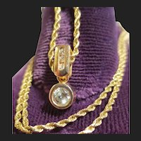 Vintage 14K Gold Diamond Pendant & Rope Chain