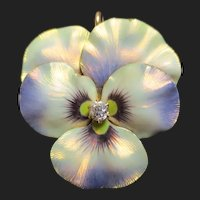 Gorgeous 14K Gold Enamel & Diamond Pansy Flower Pendant Antique Brooch
