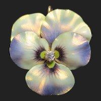 Gorgeous 14K Gold Enamel & Diamond Pansy Flower Pendant Antique Brooch