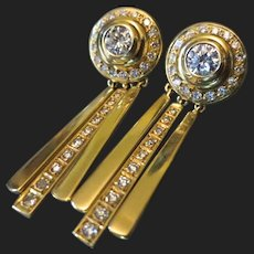 Exceptional 18K Gold Diamond Earrings Day and Night
