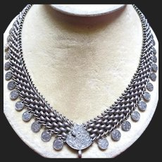 Fine Victorian Silver Book Chain Necklace Antique Collar