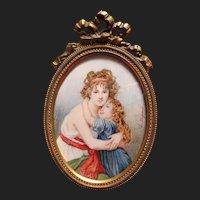 Beautiful Antique French Miniature Portrait Painting of Élisabeth Louise Vigée Le Brun & Daughter