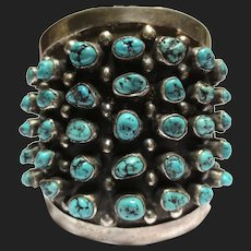 Impressive Navajo Sterling Silver Turquoise Bracelet Southwestern
