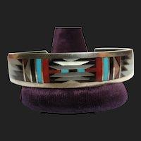 Zuni C. Dishta Sterling Silver Inlaid Cuff Bracelet Native American Turquoise