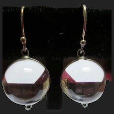 Art Deco Pools Of Light Quartz Rock Crystal Vintage Silver Earrings