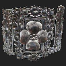 Antique Dogwood & Daisy Flower Sterling Silver Panel Bracelet